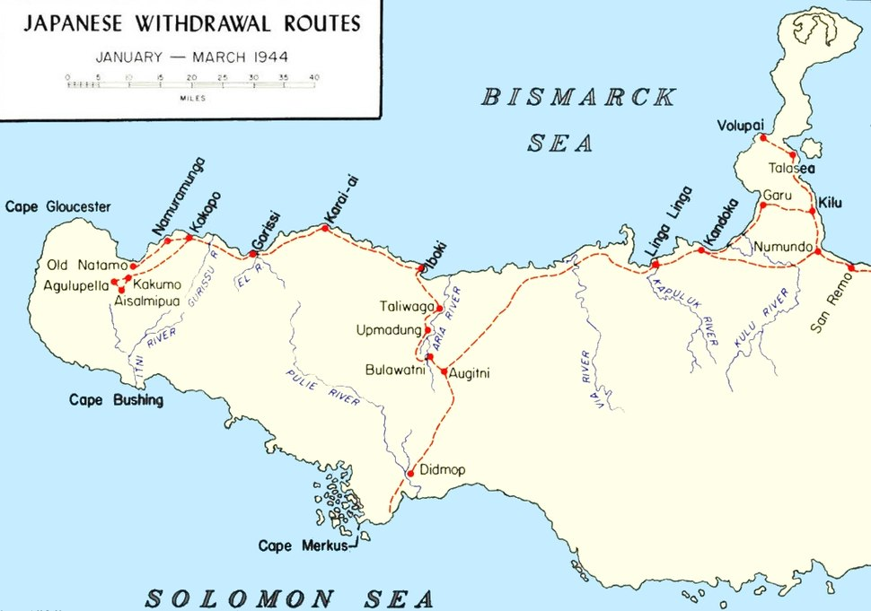 Japanese Withdrawal Routes in West New Britain