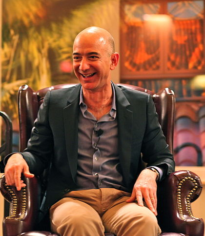 As of 2019, Jeff Bezos is the richest person in the world. Jeff Bezos' iconic laugh.jpg
