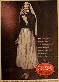 Jennifer Jones in Franz Werfel's 'The Song of Bernadette', 1944.jpg