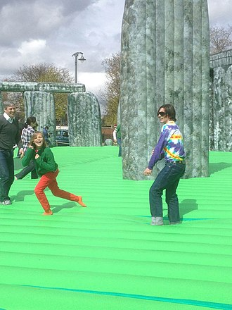 Jeremy Deller - Deller bouncing on his work at its premiere at the Glasgow International 2012.