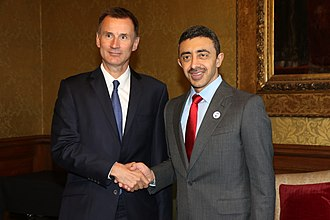 Jeremy Hunt - Hunt with the UAE Foreign Minister Abdullah bin Zayed Al Nahyan in September 2018