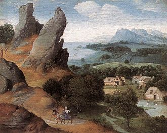 Joachim Patinir - Landscape with the Flight into Egypt, oil on panel, 17 × 21 cm (6.7 × 8.3 in), Royal Museum of Fine Arts, Antwerp, Belgium