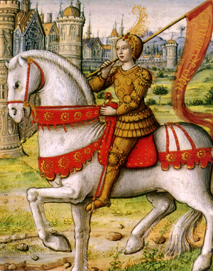 Folk hero - Joan of Arc depicted on horseback in an illustration from a 1505 manuscript. The martyr and saint Joan of Arc is a national hero in France