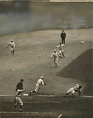 Joe Sewell - Sewell (bottom right) getting caught in a rundown in the 1920 World Series.
