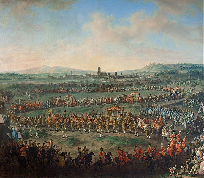 File:Johann Dallinger von Dalling - Entrance of the Emperor Franz I. Stephan and his son Joseph (II.) into Frankfurt on March 29, 1764 - Google Art Project.jpg