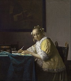 「Lady writing a letter by Vermeer wiki」の画像検索結果