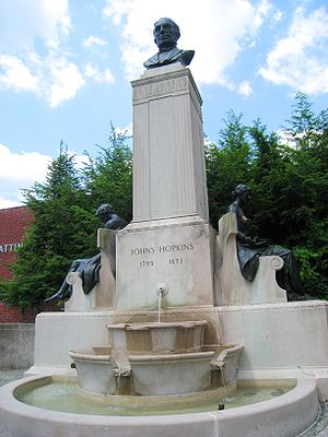 Johns Hopkins - Image: Johns Hopkins Monument, Johns Hopkins University, Baltimore, MD