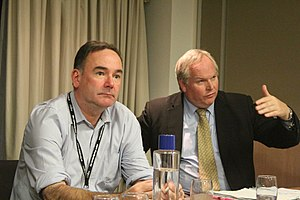Adam Boulton - Boulton speaking alongside Jon Cruddas at a Policy Exchange event in 2012