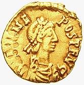 Tremissis prezentante Flavius Julius Nepos (474-480), la laŭjure lastan Imperiestron de la okcidenta tribunalo
