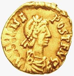 Tremissis depicting Julius Nepos (r.474–480), the de jure last emperor of the Western Court of Western Roman Empire