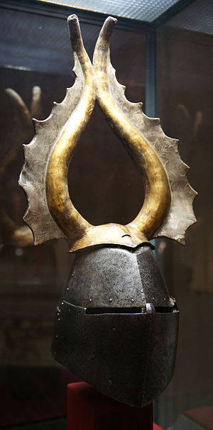Great helm - Image: KHM Wien B 74 Great helm of Albert von Prankh, 14th century, front