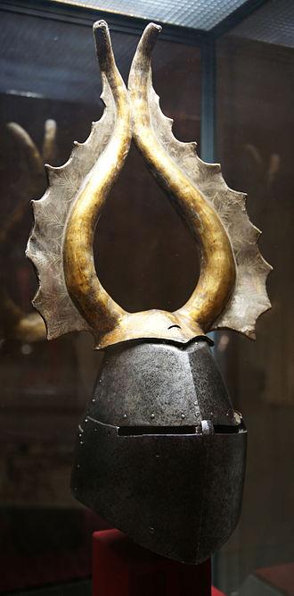 Great helm - Image: KHM Wien B 74 Great helm of Albert von Prankh, 14th century, front