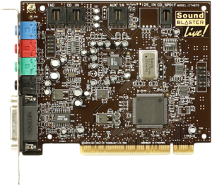 Sound card - A Sound Blaster Live! Value card, a typical (circa 2000) PCI sound card.