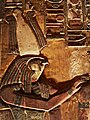 KV17, the tomb of Pharaoh Seti I of the Nineteenth Dynasty, Burial chamber J, detail of a wall painting showing the God Horus, Valley of the Kings, Egypt (49846341016).jpg