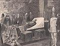 Kaiser Friedrich auf dem Paradebett in der Jaspis-Galerie des Schlosses Friedrichskron, 1888.jpg