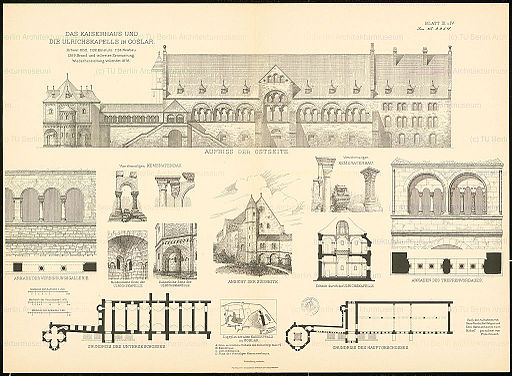 Kaiserpfalz Goslar Grundriss, Schnitt, Ansicht (Architekturzeichnungen 1875)
