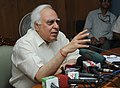 Kapil Sibal addressing the Curtain Raiser Press Conference on 4th International Policy Dialogue Forum on Teachers for Education For All in India, in New Delhi on May 28, 2012.jpg