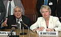 Kapil Sibal and the German Federal Minister for Education and Research, Dr. Annette Schavan jointly addressing the press conference after signing ceremony of an MoU for cooperation in science and technology, in New Delhi.jpg
