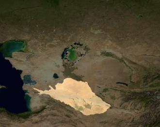 Karakum Desert - A map of Central Asia. The Karakum Desert is highlighted at the bottom.