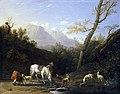 Karel Dujardin - Horseman and His Horse at a River.jpg