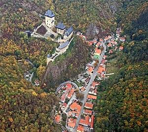 Karlštejn (Beroun District) - Aerial view of Karlštejn town and castle