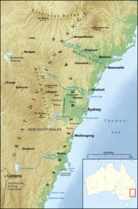 Lage der Blue Mountains innerhalb des Sydneybeckens