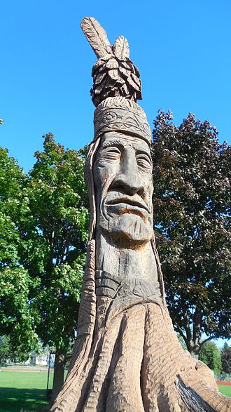 Laconia, New Hampshire - Memorial of Keewakwa Abenaki Keenahbeh in Opechee Park, which stands at a height of 36 ft.  During the dedication ceremonies in September 1984 more than 3,000 attended, which included an estimated 100 members of the Pennacook tribe.