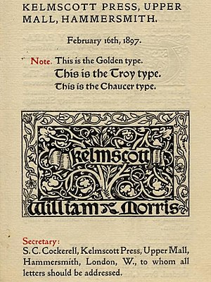 Golden Type - The Golden Type among other typefaces used by the Kelmscott Press