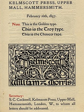 Edward Prince - Prince's Golden Type, cut for William Morris, among other typefaces used by the Kelmscott Press.