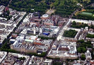 Albertopolis - Aerial view of Albertopolis, South Kensington.  Albert Memorial, Royal Albert Hall and Royal College of Art are visible near the top; Victoria and Albert Museum and Natural History Museum at the lower end; Imperial College, Royal College of Music, and Science Museum lying in between.