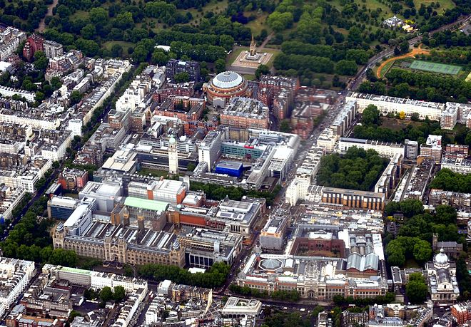 Aerial view of Albertopolis. Albert Memorial, Royal Albert Hall and Royal College of Art are visible near the top; Victoria and Albert Museum and Natural History Museum at the lower end; Imperial College, Royal College of Music, and Science Museum lying in between. Kensington Museums aerial 2011 b.jpg