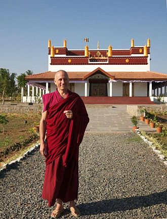 Rato Dratsang - Venerable Khen Rinpoche (Nicolas Vreeland) in front of the newly inaugurated Rato temple, January 2015