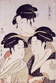 Utamaro: Tre bellezze del nostro tempo. Da sinistra a destra, sono raffigurate Takashima Ohisa, Tomimoto Toyohina e Naniwaya Okita.