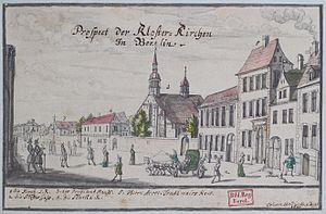 Samuel Rodigast - Watercolour of the thirteenth century Franziskaner-Klosterkirche in Berlin in 1690 with the red-roofed Gymnasium zum Grauen Kloster, where Rodigast taught, to the left