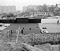 Kocsis utca 26., a Földalatti Vasút Vállalat munkásszállójának építkezése. Háttérben a Tétényi út épületei. Fortepan 97369.jpg