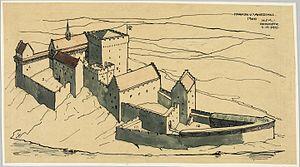 Holger Sinding-Larsen - Drawing of  Akershus ca.  1300 by Holger Sinding-Larsen (09.11.1925)
