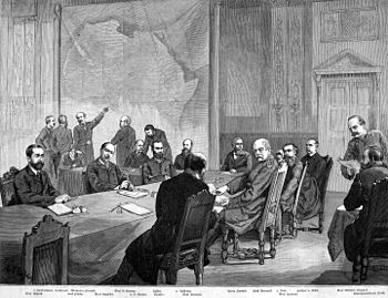 Drawing of the participants in the Congo Conference 1884