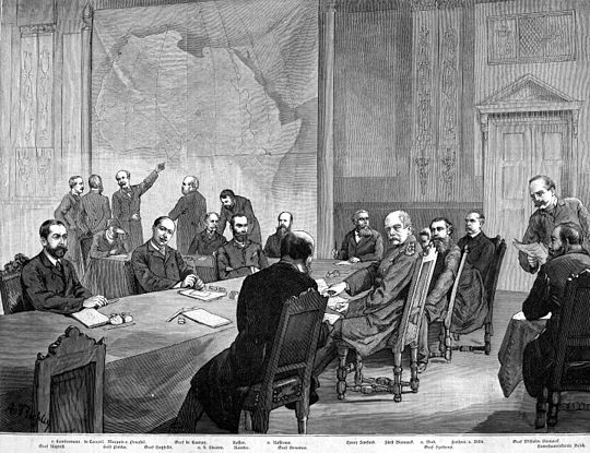 European officials staking claims to Africa in the Conference of Berlin in 1884 Kongokonferenz.jpg