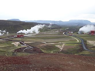 Geothermal energy - Krafla Geothermal Station in northeast Iceland