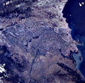 Kosmosdan Kür deltasının görünüşü