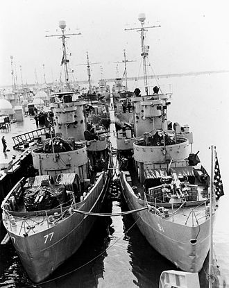Landing Craft Support - A group of LSSLs awaiting transfer to the ROK Navy in 1952