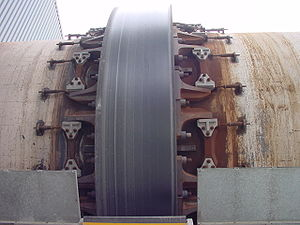 Rotary kiln - Kiln tyre closeup showing typical chair arrangement