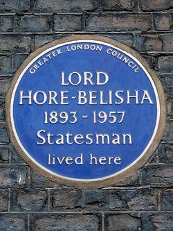 Lord hore belisha 1893 1957 statesman lived here