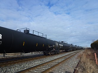 Liquefied petroleum gas - Tank cars in a Canadian train for carrying liquefied petroleum gas by rail.
