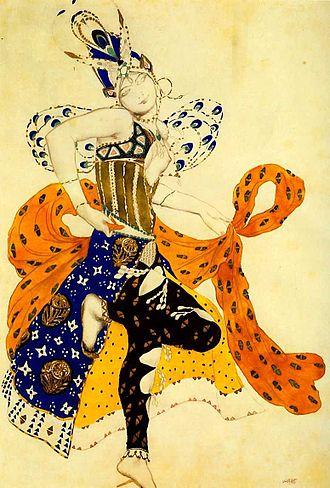 La Péri (Dukas) - Sketch for the Peri's costume by Léon Bakst, 1911.