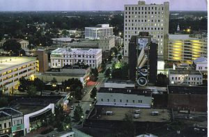 Aerial shot of downtown Lafayette, Louisiana, ...