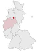 Deutschlandkarte, Position des Kreises Lübbecke hervorgehoben