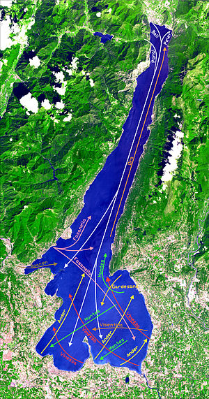 Lake Garda - Lake Garda from space with its wind pattern