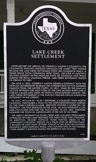 Montgomery, Texas - Texas Historical Commission marker approved for the Lake Creek Settlement located in front of the N. H. Davis Museum and Pioneer Complex, 308 Liberty Street, Montgomery, Texas.