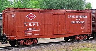Lake Superior and Ishpeming Railroad - Lake Superior and Ishpeming Railroad  box car, built in 1901. On display at Mid-Continent Railway Museum.